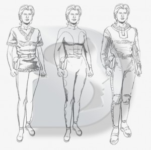 Early costume design sketches by Marko Keränen, for the character Dorad Neubaum.